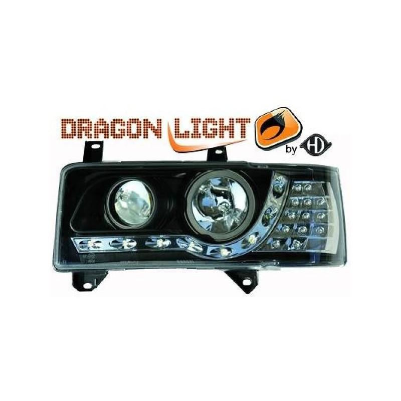 Phares Avant DEVIL EYES noir Clignotant LED Vw T4 90-03