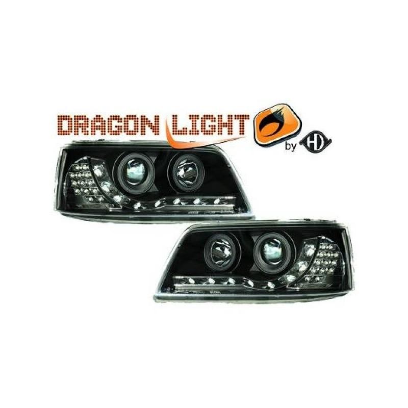 Phares Avant DEVIL EYES noir Vw T5 apres 2003 Clignotant LED