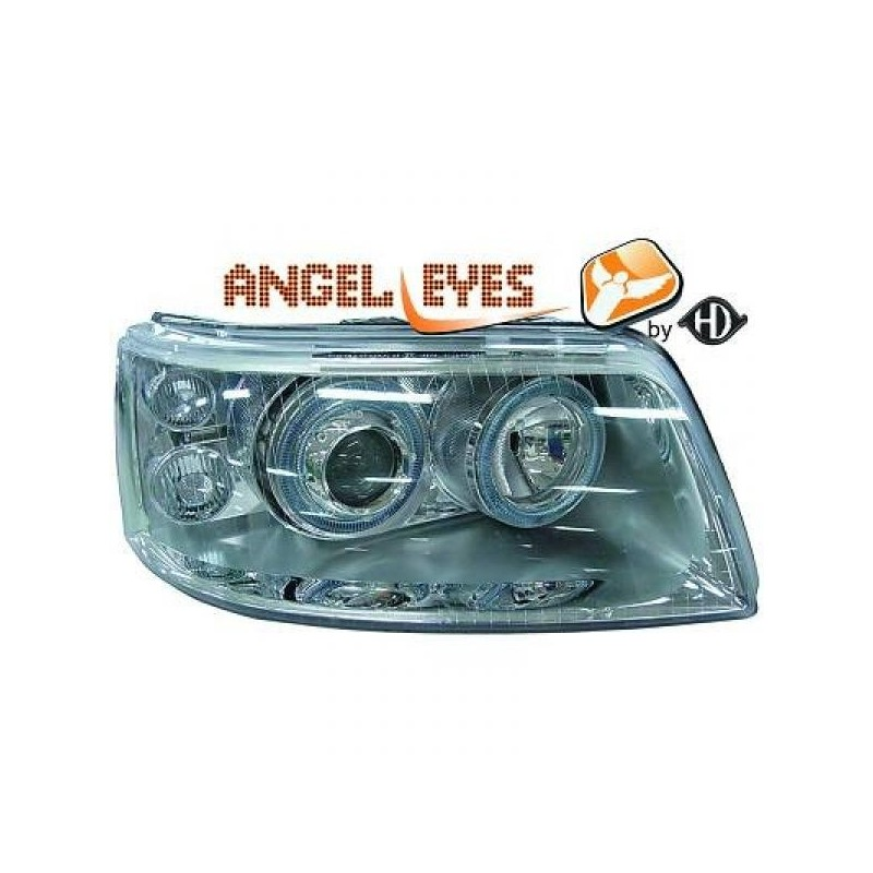 Phares angel eyes chrome Vw T5 03-10