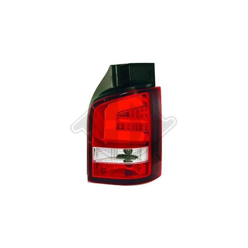 Feux arrières LED Vw T5 03-09 pour hayon LED cristal/rouge-blanc