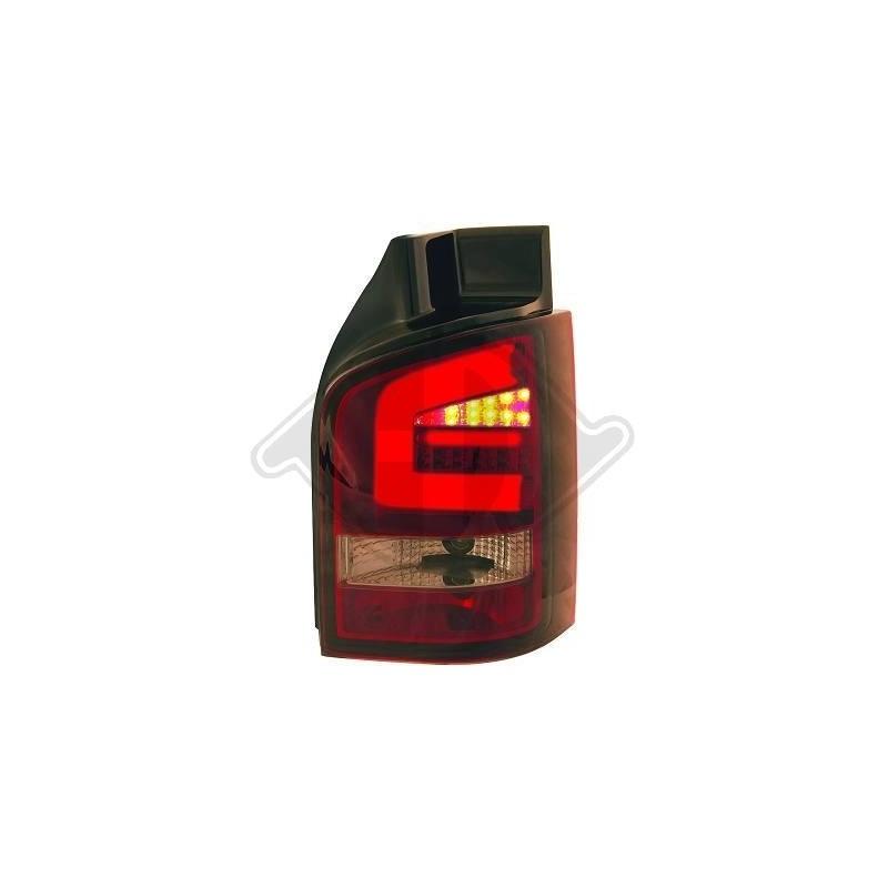 Feux arrières LED VW T5 03-09 pour hayon LED cristal/rouge-fumé