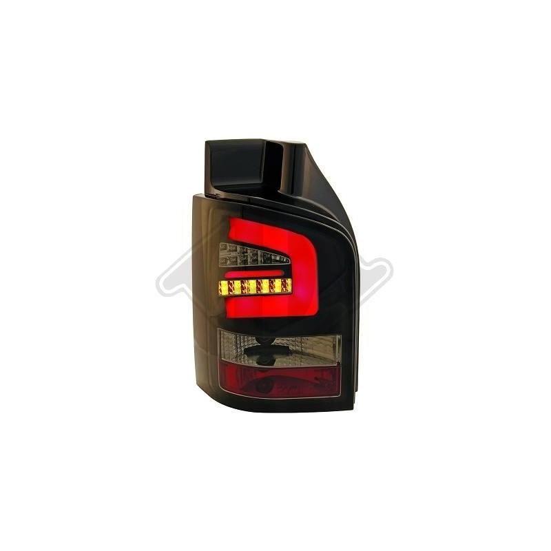 Feux arrières LED VW T5 03-09 pour hayon LED cristal/fumé-noir