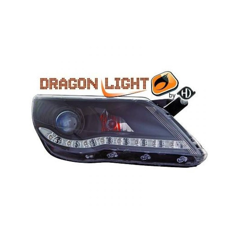 Phares DEVIL EYES LED Vw TIGUAN 07-11 cristal/noir
