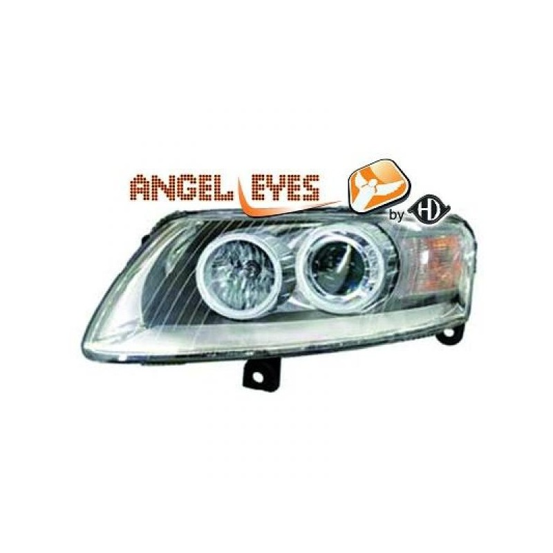 Phares angel eyes chrome Audi A6 04-08