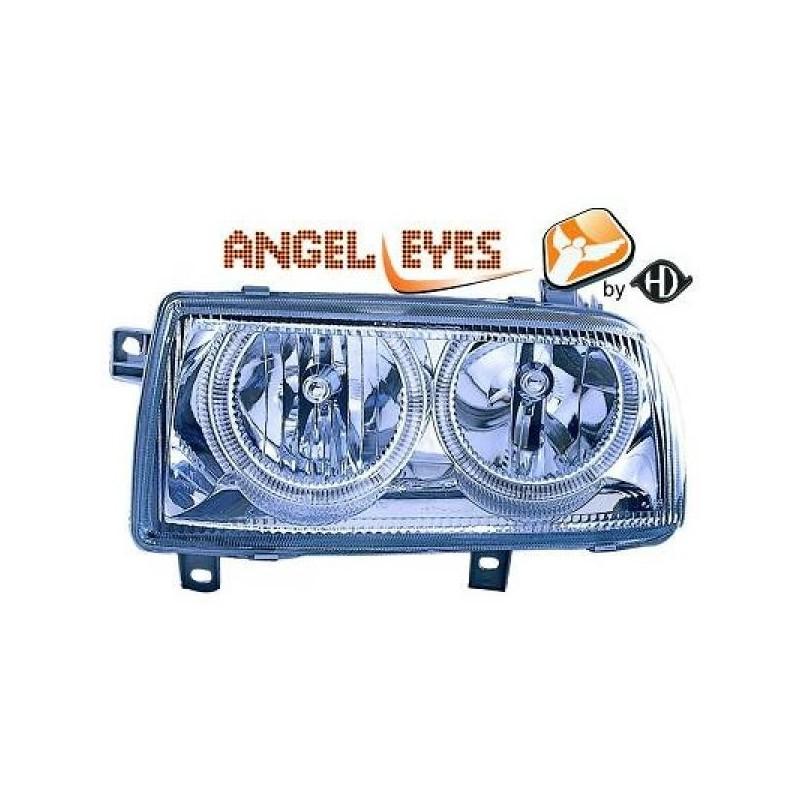 Phares angel eyes chrome Vw VENTO 92-98