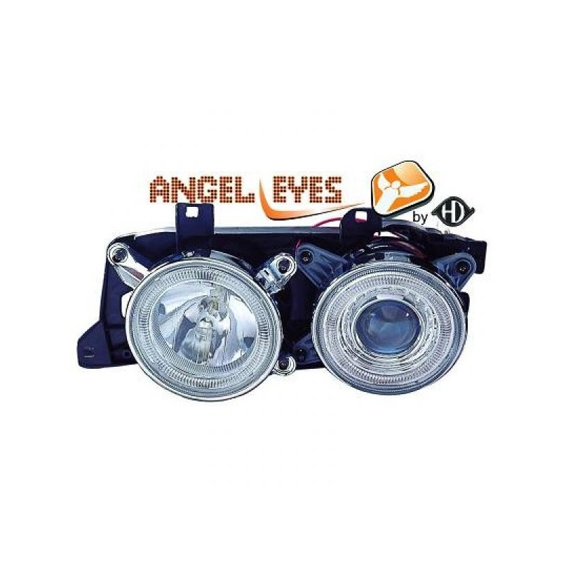 Phares angel eyes chrome Bmw E32/34 88-95