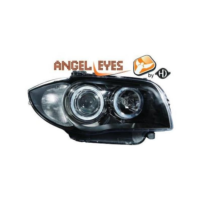 Phares angel eyes noir Bmw E87 apres 2004