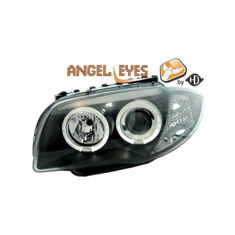 Phares angel eyes noir Bmw E87 04