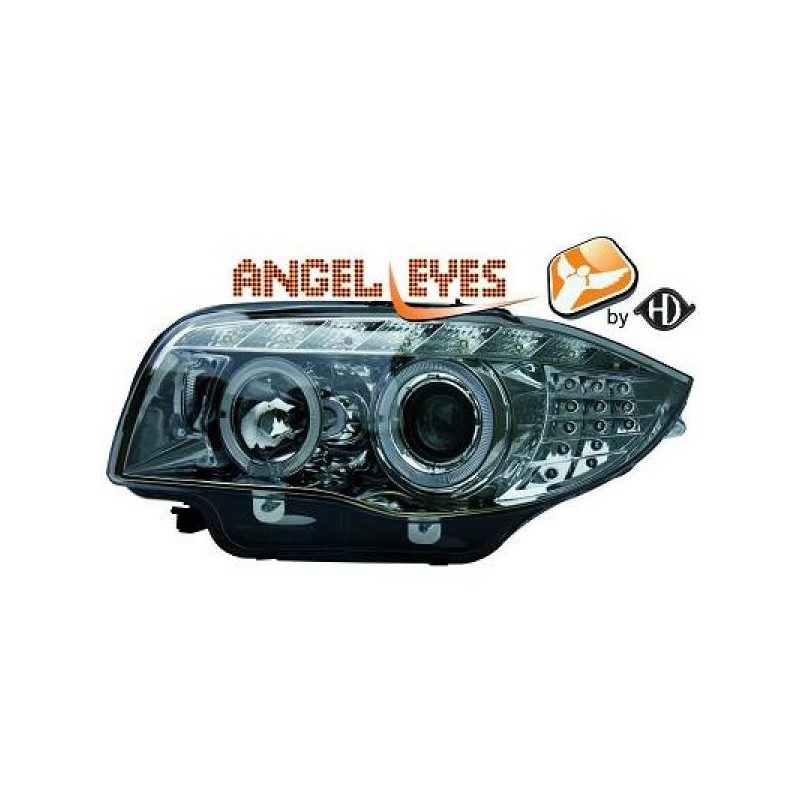 Phares angel eyes LED chrome Bmw E87 04-11