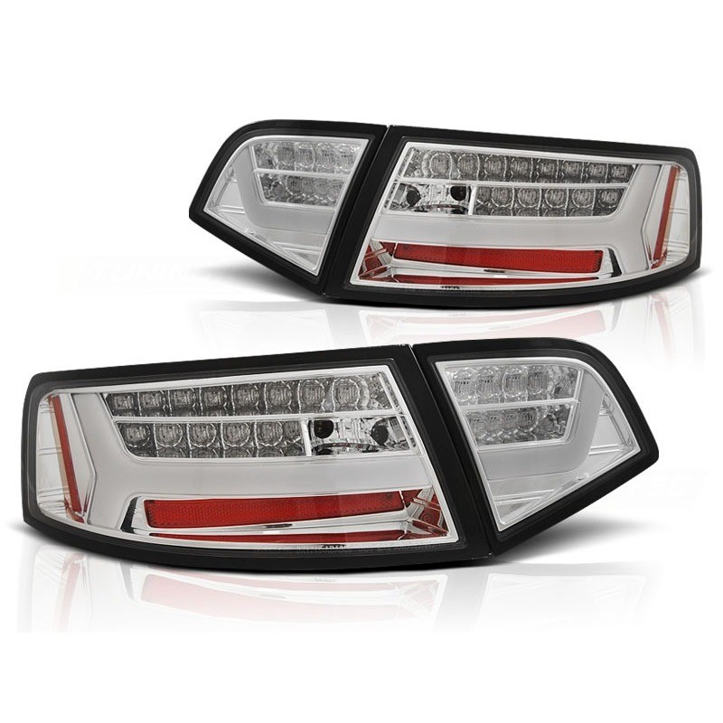 Feux arrieres tuning pour audi a6 2008 à 2011 berline chrome led bar seq