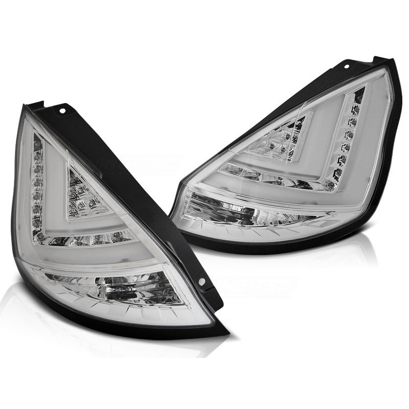 Feux arrieres tuning pour ford fiesta mk7 08-12 hb chrome led bar