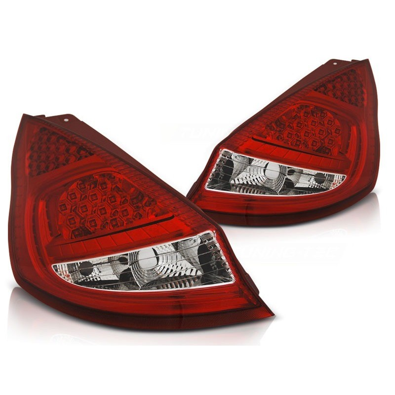 Feux arrieres tuning pour ford fiesta mk7 08-12 hb rouge blanc led