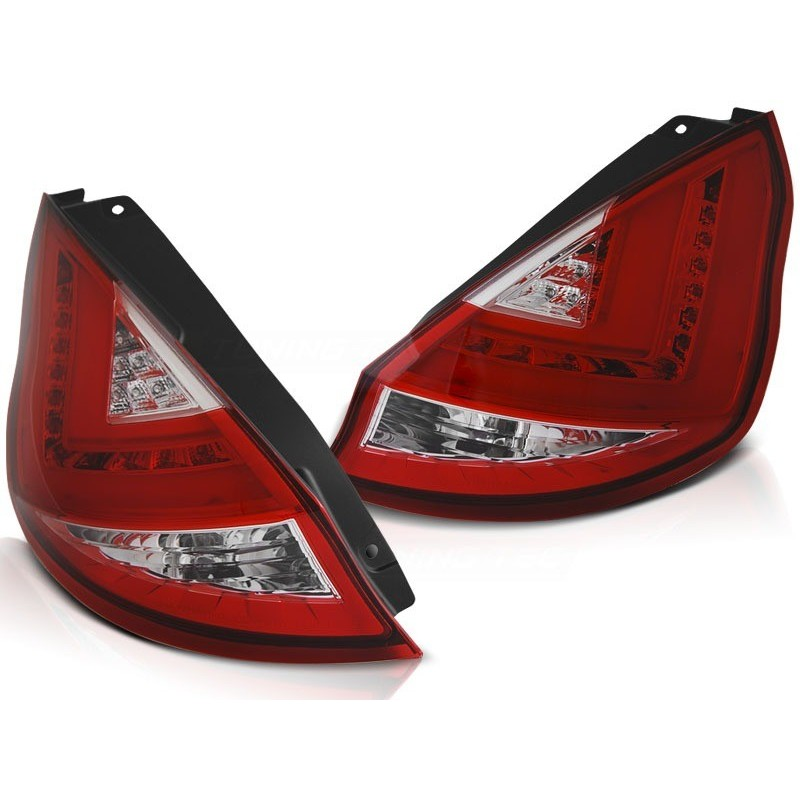 Feux arrieres tuning pour ford fiesta mk7 08-12 hb rouge blanc led bar