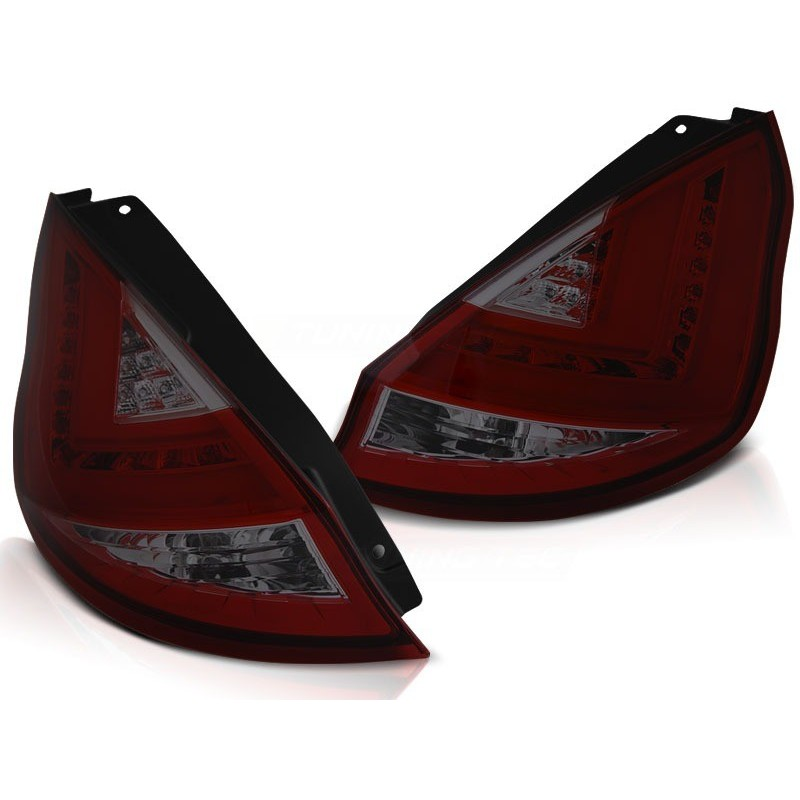 Feux arrieres tuning pour ford fiesta mk7 12-16 hb rouge fumée led bar