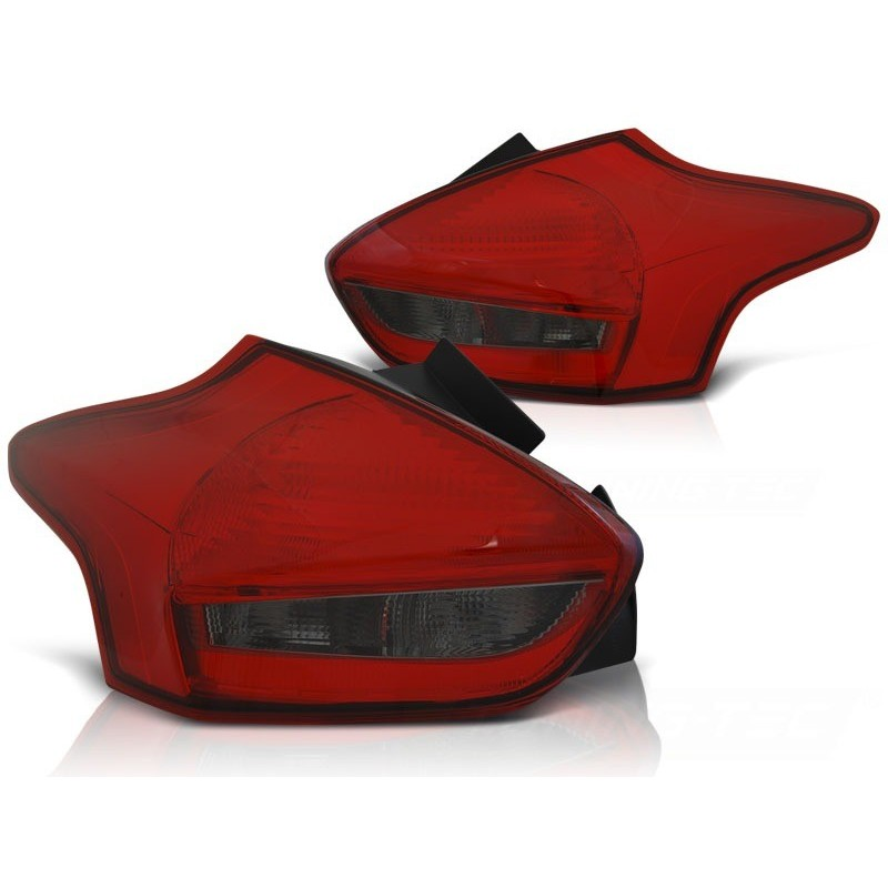 Feux arrieres tuning pour ford focus 3 15- hatchback rouge fumée led