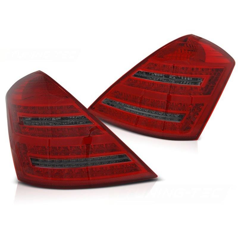 Feux arrieres tuning pour mercedes w221 s à classe 2005 à 2009 rouge fumée led seq