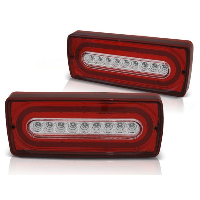 Feux arrieres tuning pour mercedes w463 g-classe 90-12 rouge blanc led