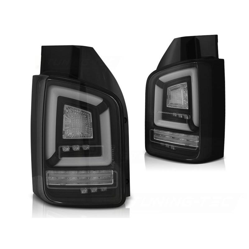 Feux arrieres tuning pour volkswagen t5 2010 à 2015 noir full led seq indicator