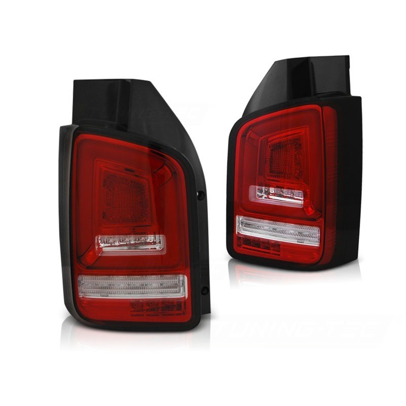 Feux arrieres tuning pour volkswagen t5 2010 à 2015 rouge blanc full led seq indicator