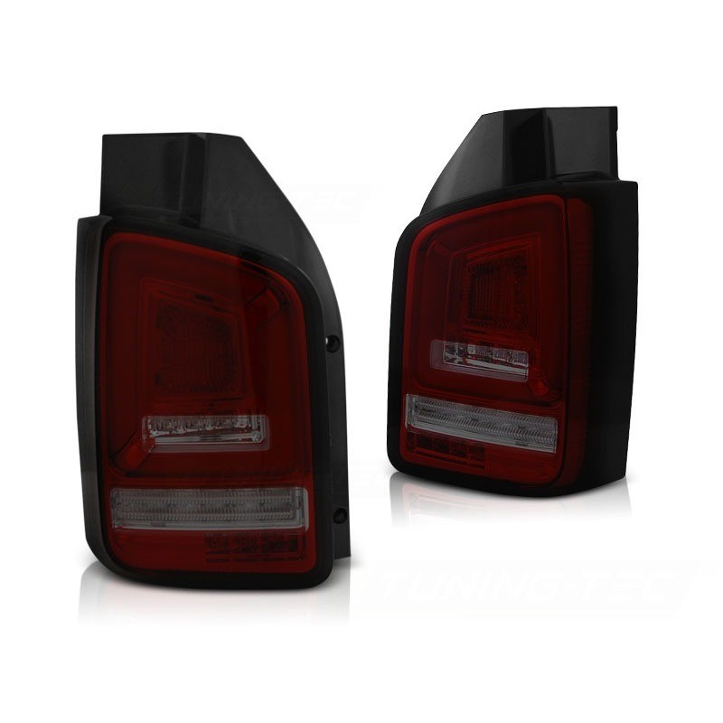 Feux arrieres tuning pour volkswagen t5 2010 à 2015 rouge fumée full led seq indicator