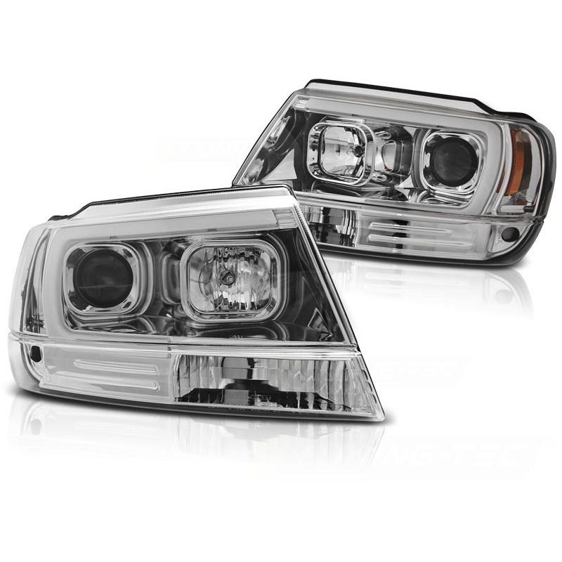 Feux phares avant chrysler jeep grand cherokee 99-05.05 tube light chrome
