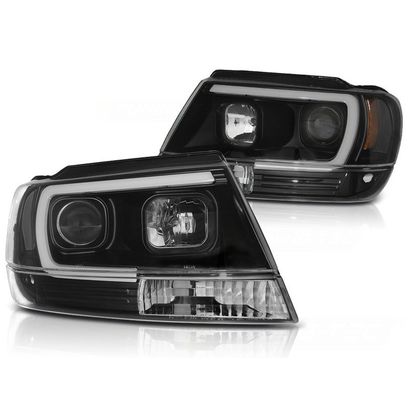 Feux phares avant chrysler jeep grand cherokee 99-05.05 tube light noir