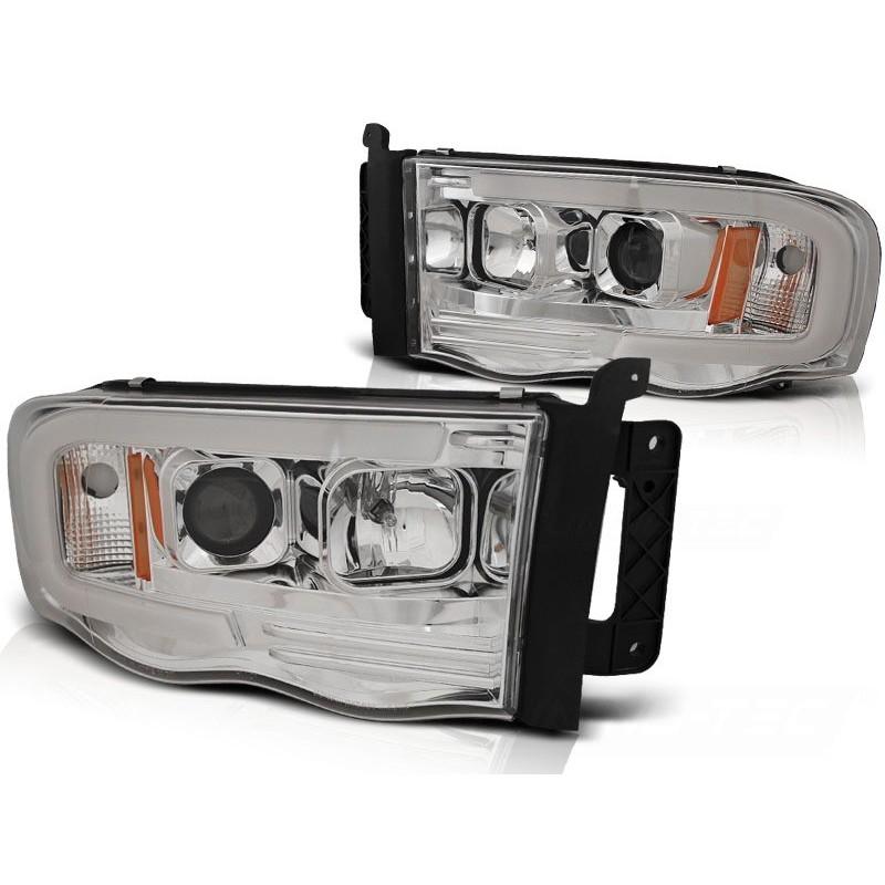 Feux phares avant dodge ram 02-06 tube light chrome