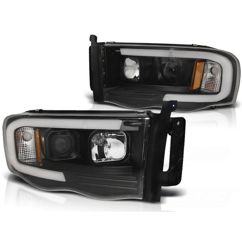 Feux phares avant dodge ram 02-06 tube light noir
