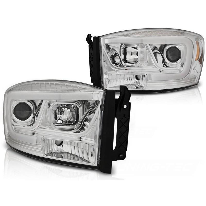 Feux phares avant dodge ram 06-08 tube light chrome