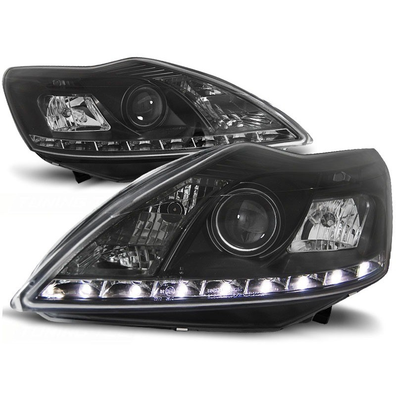 Feux phares avant ford focus ii 02.08-10 daylight noir w/m