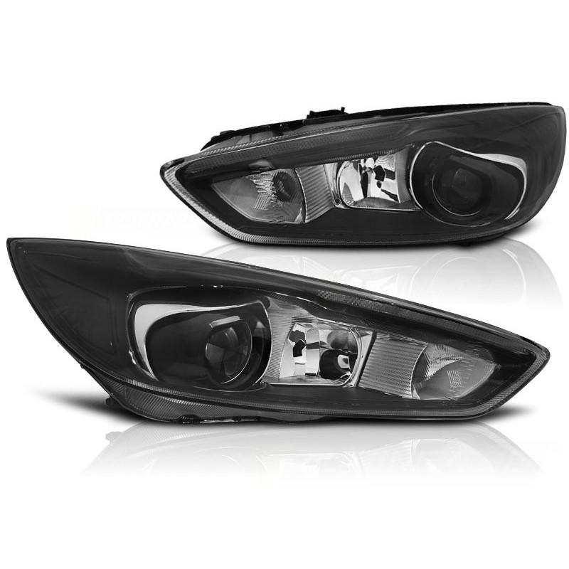 Feux phares avant ford focus mk3 14- noir led drl