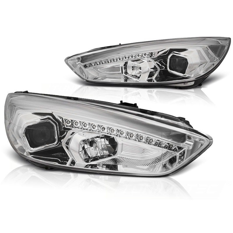 Feux phares avant ford focus mk3 15- chrome drl led