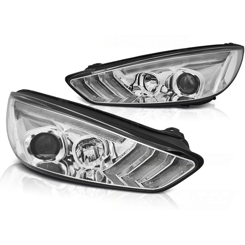 Feux phares avant ford focus mk3 2015 à 2018 chrome drl led seq indicaor