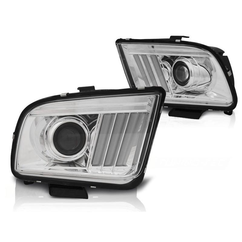 Feux phares avant ford mustang 04-09 tube light chrome