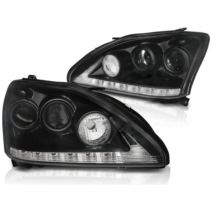 Feux phares avant lexus rx 330 / 350 03-08 tube light noir