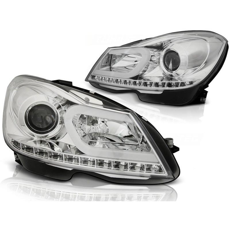 Feux phares avant mercedes classe c w204 11-14chrome tube light