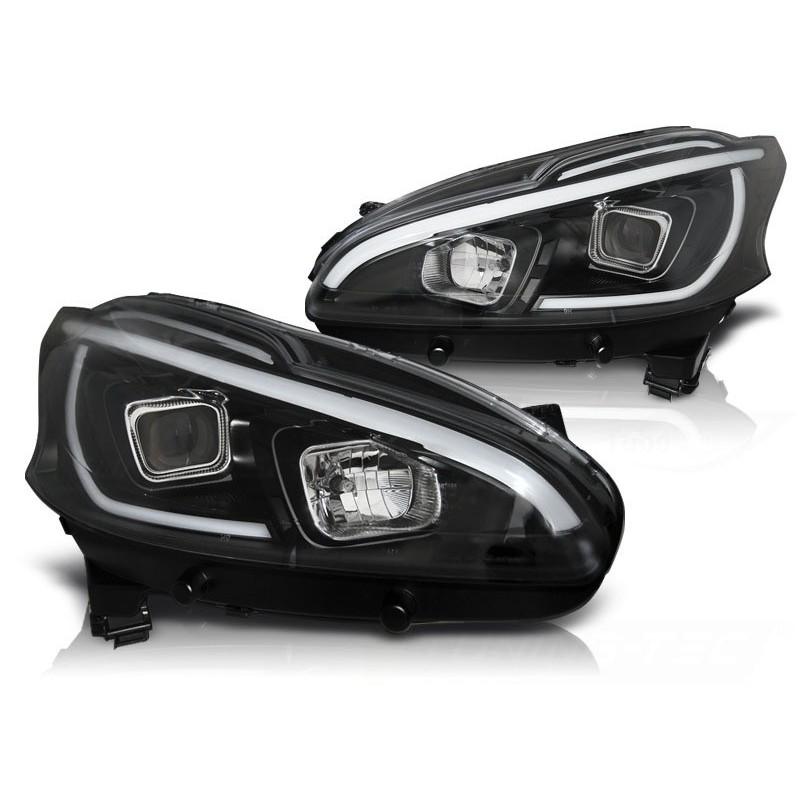 Feux phares avant peugeot 208 4.12-06.15 tube light noir