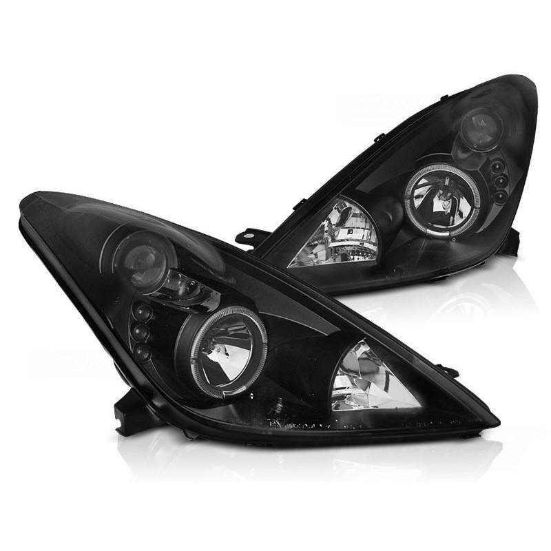 Feux phares avant toyota celica t230 99 à 2005 angel eyes noir