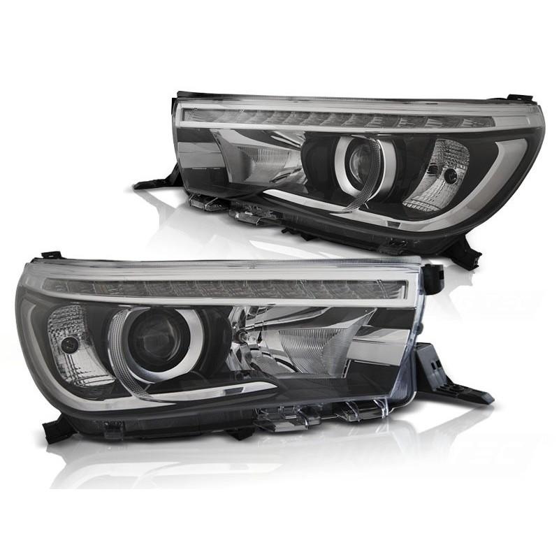 Feux phares avant toyota hilux 16- led projector true drl noir