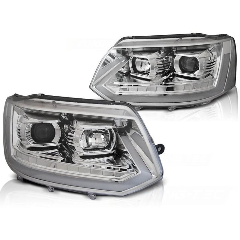 Feux phares avant volkswagen t5 2010 à 2015 led tube light chrome t6 look