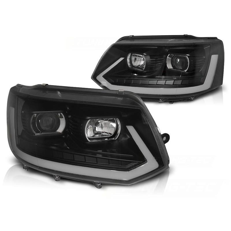 Feux phares avant volkswagen t5 2010 à 2015 led tube light noir t6 look