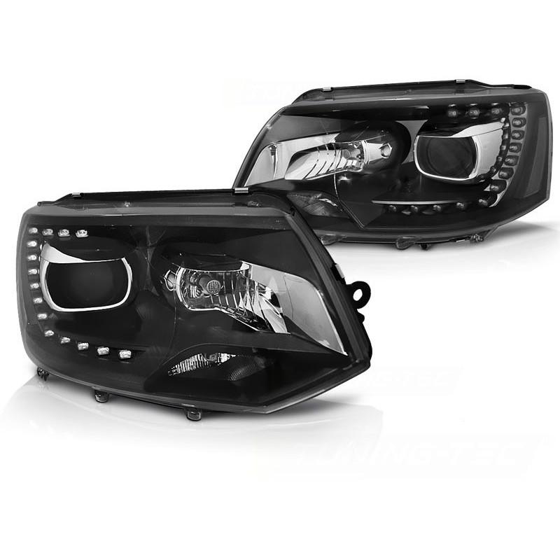 Feux phares avant volkswagen t5 2010 à 2015 tru drl xenon laque noir