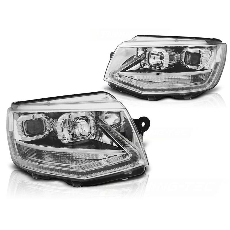 Feux phares avant volkswagen t6 15- chrome led tru drl