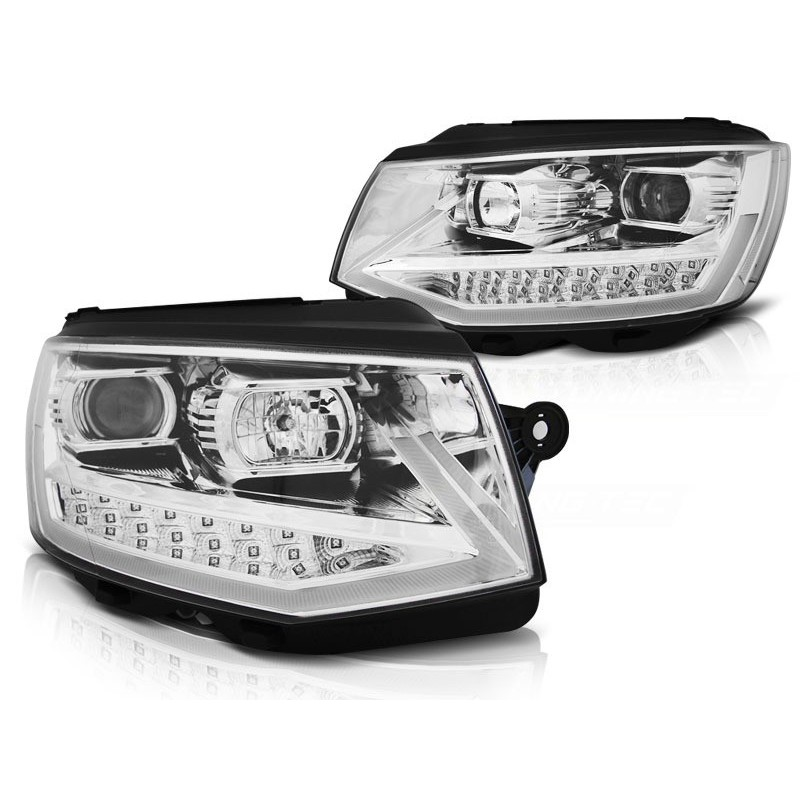 Feux phares avant volkswagen t6 15- chrome tube light led drl