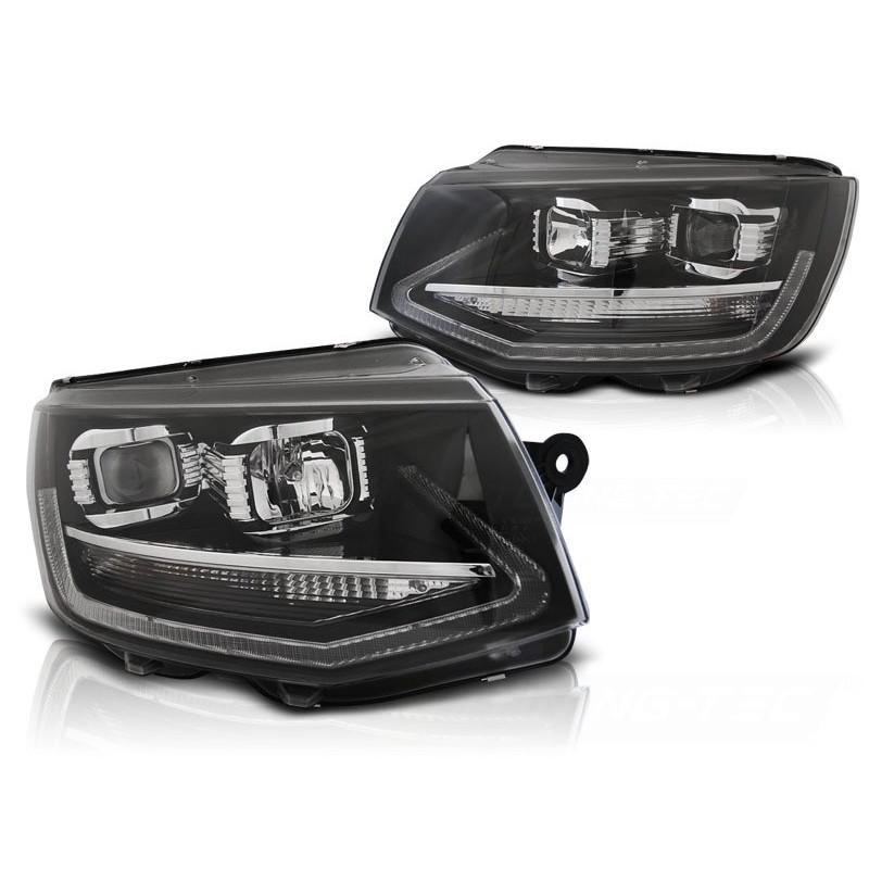 Feux phares avant volkswagen t6 15- noir led tru drl