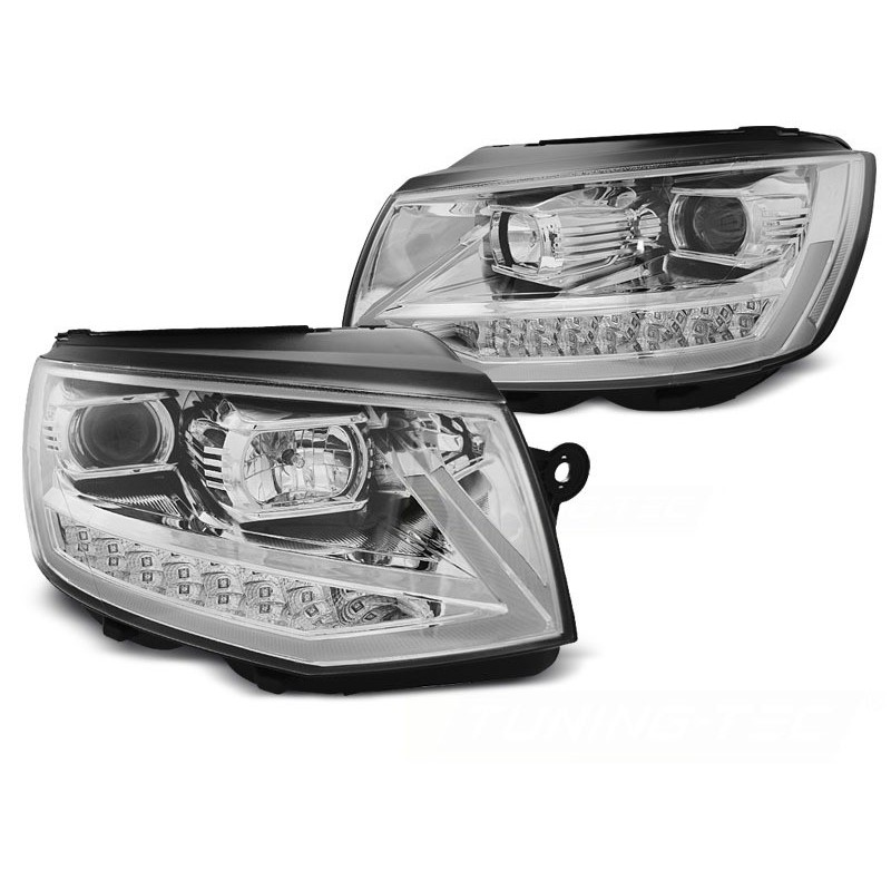 Feux phares avant volkswagen t6 2015 à chrome tube light led seq drl