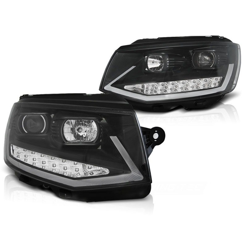 Feux phares avant volkswagen t6 15- noir tube light led drl