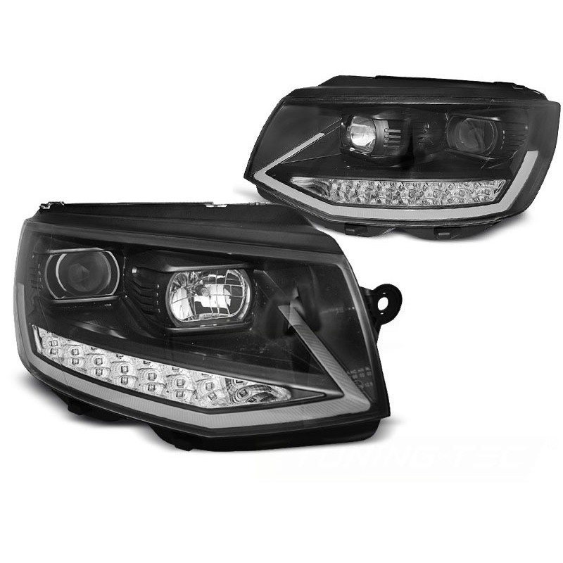 Feux phares avant volkswagen t6 2015 à noir à chrome tube light led seq drl