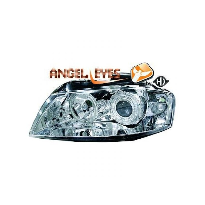 Phares angel eyes chrome Audi A3 03-08